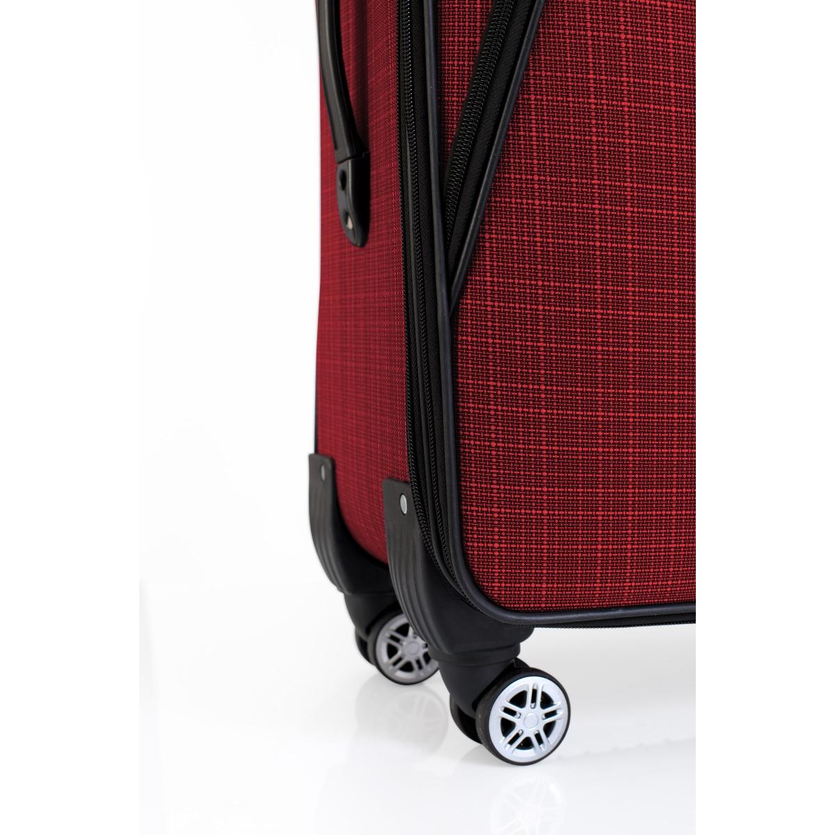 Gedox 4 Teker Geniş Kasa Havlu Kumaş 3'lü Valiz Seyahat Seti - Model: 1000.13 Bordo