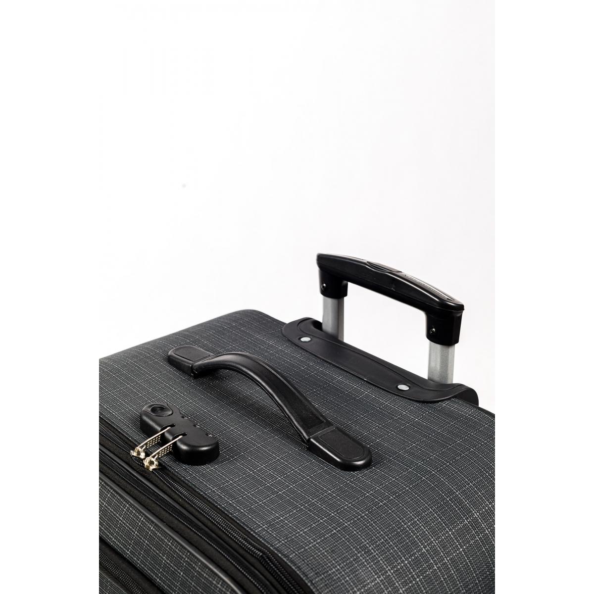 Gedox 4 Teker Geniş Kasa Havlu Kumaş 3'lü Valiz Seyahat Seti - Model: 1000.02 Koyu gri