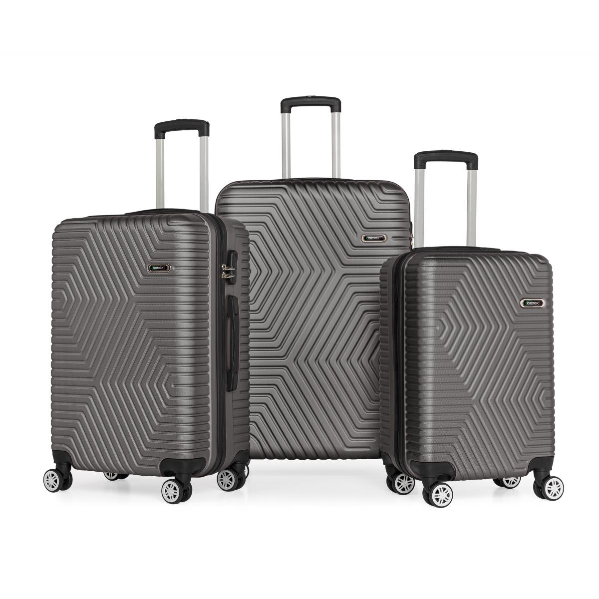 G&D Polo Suitcase ABS 3'lü Lüx Valiz Seyahat Seti - Model:600.02 Koyu Gri