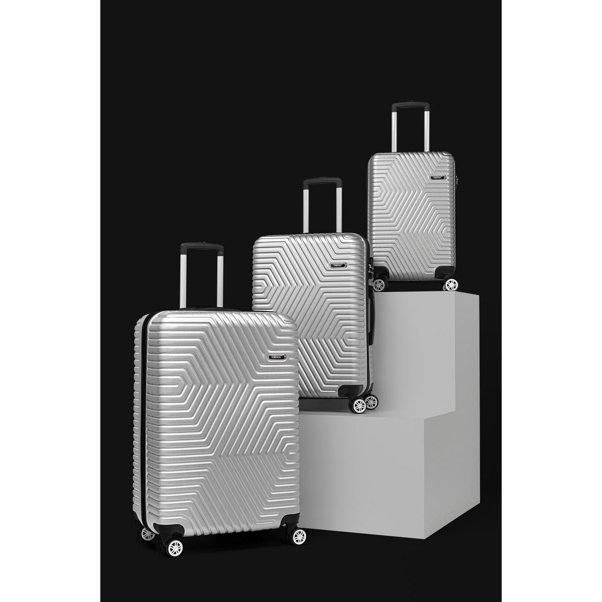G&D Polo Suitcase ABS 3'lü Lüx Valiz Seyahat Seti - Model:600.03 Gri