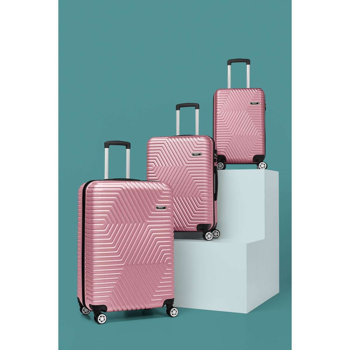 G&D Polo Suitcase ABS 3'lü Lüx Valiz Seyahat Seti - Model:600.08 Gül Kurusu