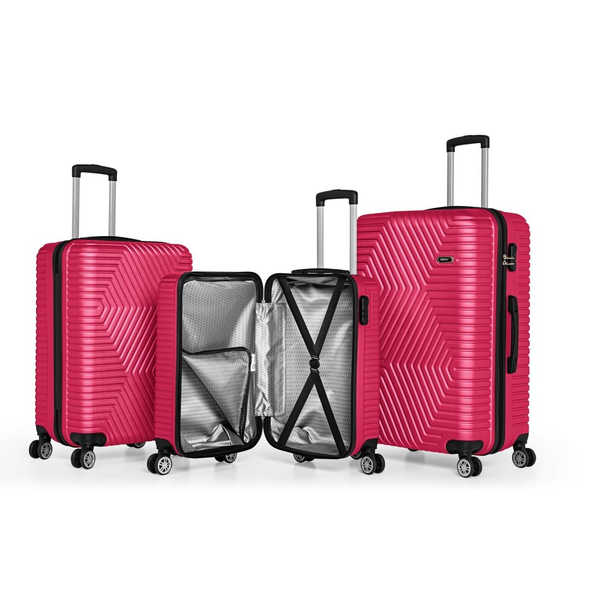 G&D Polo Suitcase ABS 3'lü Lüx Valiz Seyahat Seti - Model:600.10 Fuşya Pembe