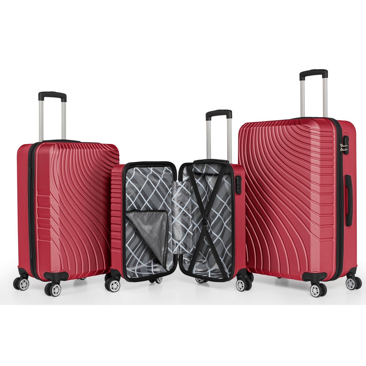 Gedox Abs 3'lü Valiz Seyahat Seti - Model:700.13 Bordo
