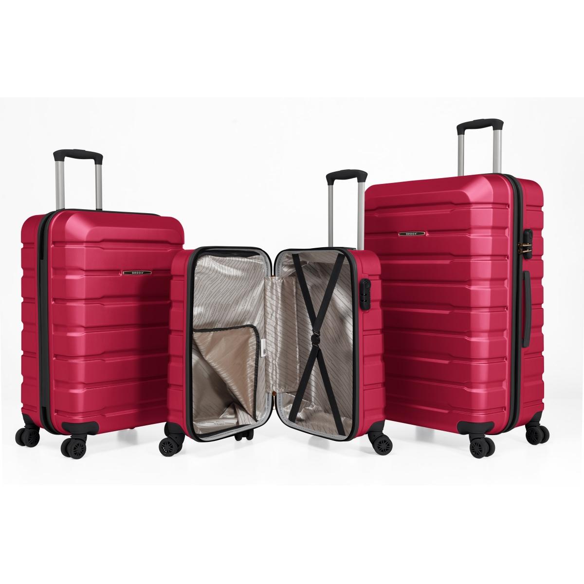 Gedox Abs Premium Tonaton 3'lü Valiz Seyahat Seti - Model:500.10 Fuşya Pembe
