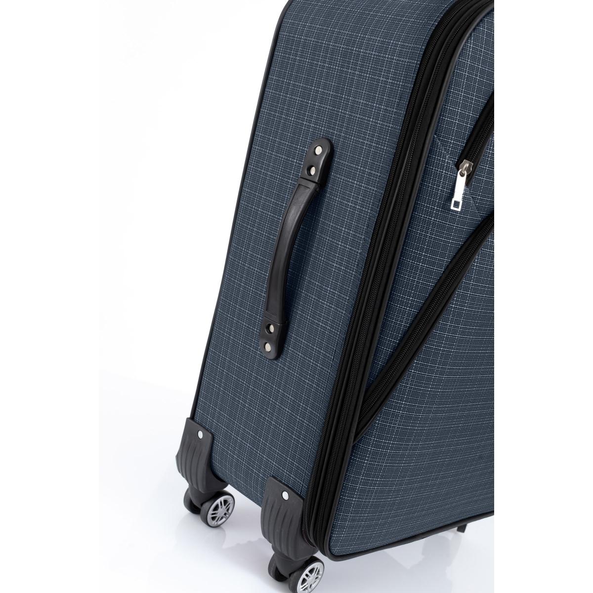 Gedox 4 Teker Geniş Kasa Havlu Kumaş 3'lü Valiz Seyahat Seti - Model: 1000.04 Lacivert