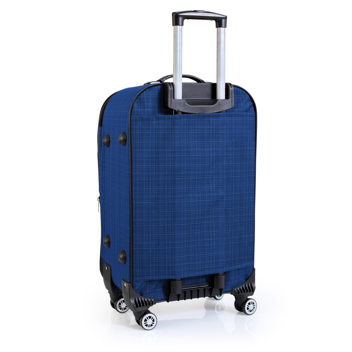 Gedox 4 Teker Geniş Kasa Havlu Kumaş 3'lü Valiz Seyahat Seti - Model: 1000.05 Çivit Mavi