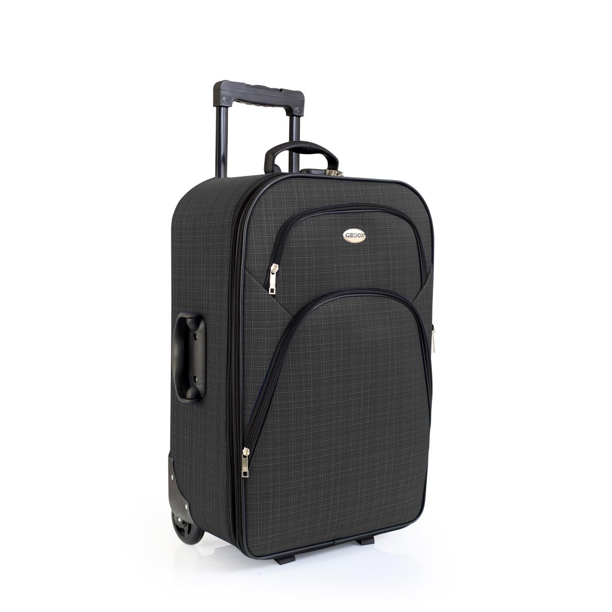 Gedox 2 Teker Geniş Kasa Havlu Kumaş 3'lü Valiz Seyahat Seti - Model: 1005.02 Koyu gri