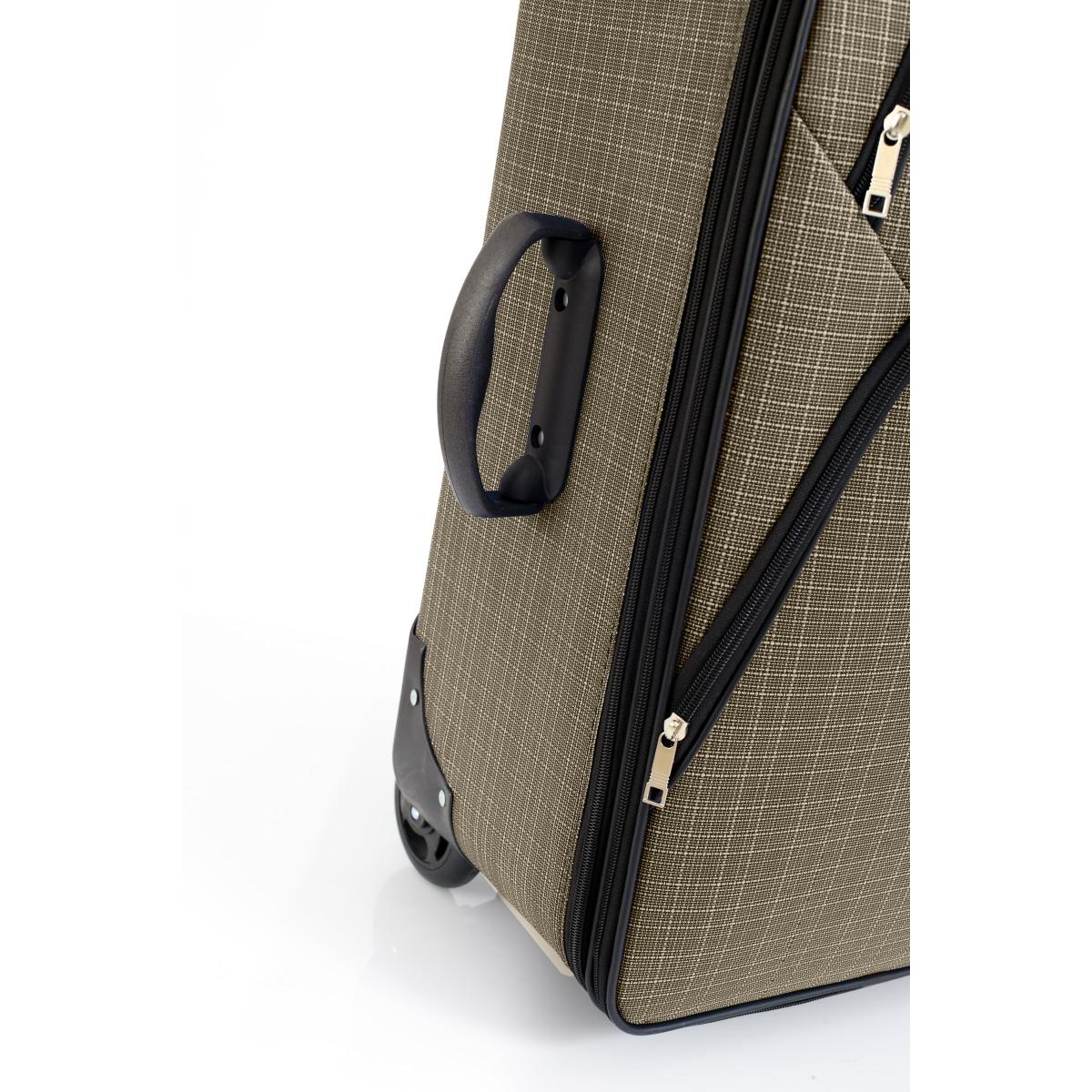 Gedox 2 Teker Geniş Kasa Havlu Kumaş 3'lü Valiz Seyahat Seti - Model: 1005.03 Gri