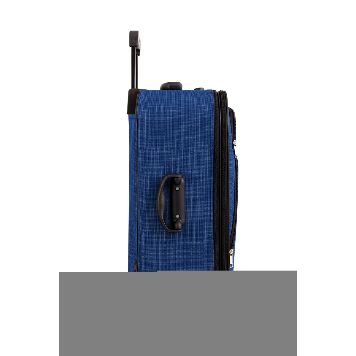 Gedox 2 Teker Geniş Kasa Havlu Kumaş 3'lü Valiz Seyahat Seti - Model: 1005.05 Çivit Mavi