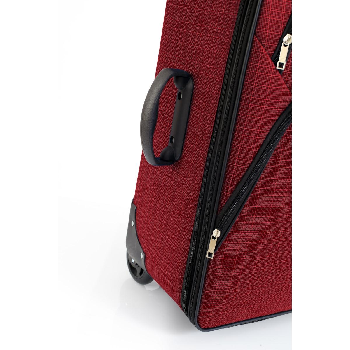 Gedox 2 Teker Geniş Kasa Havlu Kumaş 3'lü Valiz Seyahat Seti - Model: 1005.13 Bordo
